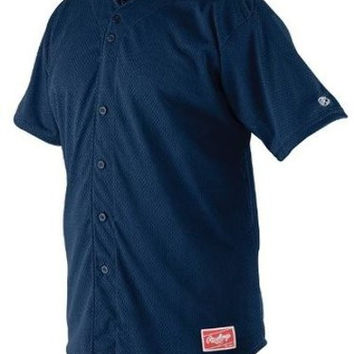 rawlings pindot mesh adult baseball jersey - navy Case of 25
