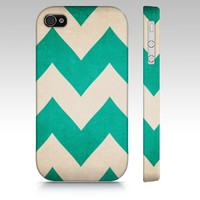 2013 Redux - Emerald Chevron - Iphone, 4, 4s, 5, Samsung Galaxy S3 & S4 Case - Zig Zag, bright, tech, apple, iPhone 5, iPhone 4s, pantone