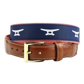 Boat Cleat Leather Tab Belt in Navy on Soft Red Canvas by Country Club Prep