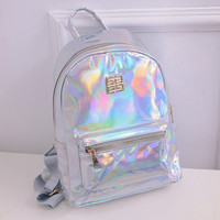 Suutoop Holographic Backpack Women School Daypack For Teenage Girls Hologram Travel Rucksack Small PU Leather Multicolor Mochila