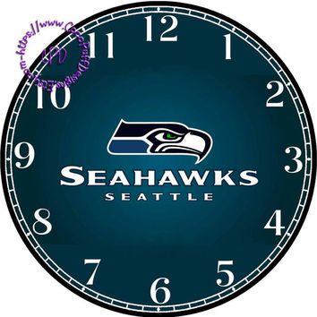 """Seattle SeaHawks Sports Team Art - -DIY Digital Collage - 12.5"""" DIA for 12"""" Clock Face Art - Crafts Projects"""