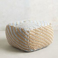 Large Diamond-Weave Pouf by Anthropologie Sky Large House & Home