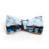 BLUE OCEAN DOTS KIDS BOWTIE