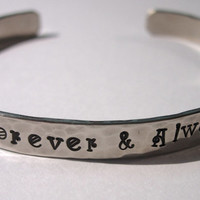 FOREVER & ALWAYS Hand Stamped and Hammered Bracelet Wedding Jewelry Brass, Copper, Nickel Silver, Sterling Silver