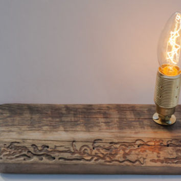 Reclaimed wood lamp, vintage table lamp, rustic wood lamp, desk lamp, portable lamp, Edison light, handmade lamps, goodlights lamp