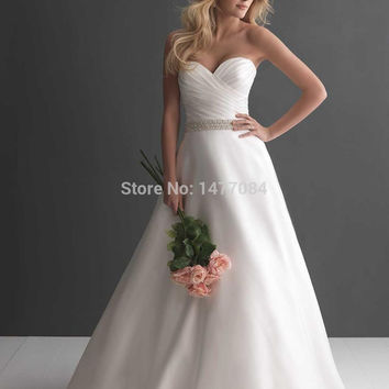 Floor length wedding dresses 2016, stock bridal dress, satin ball gown delicate ruching & crystals,buttons back