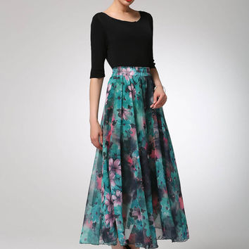 Maxi skirt prom chiffon skirt long skirt (1300)