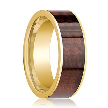 Mens Wedding Band Polished 14k Yellow Gold Flat Wedding Ring with Red Wood Inlay  - 8mm