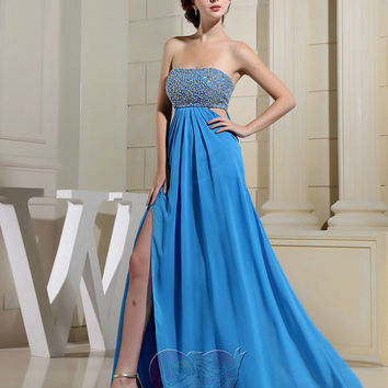 Top-selling Sweetheart Pleated sequin beading split up floor length Formal Long Prom Evening Party Bridesmaid Cocktail Homecoming Dress Gown