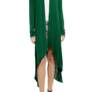 Green Women's Solid Irregular Downswing Long Knit Overcoat Sweater Cardigan