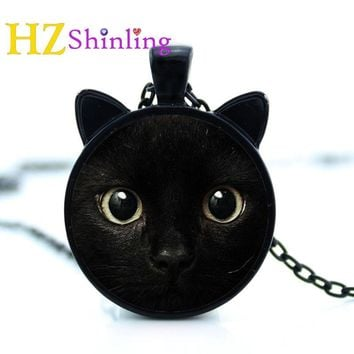 2017 painting black cat  Necklace for pet lovers Cat Pendant with two ears  Jewelry Glass Cabochon girl's Gift for her