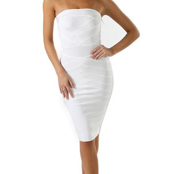 Come Here White Strapless Bandage Bodycon Midi Dress