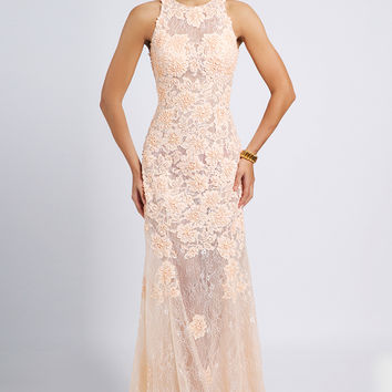 Pink Sleeveless Lace Gown 92325 - Prom Dresses