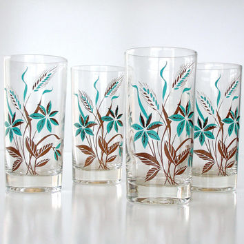 Vintage Glassware Teal Blue Brown Set of 4 Barware Mid Century Modern 1960s
