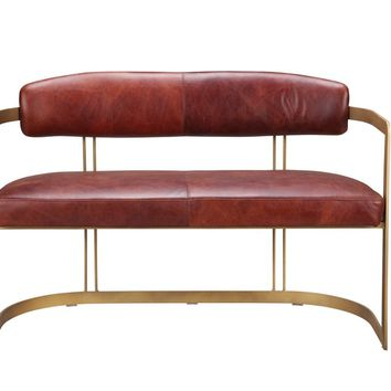 Downie Bench Top Grain Leather Iron Frame
