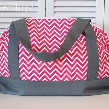 Cosmo Pink Chevron with Solid Gray and Solid Pink Interior Weekender - Girl diaper bag - Weekend Bag - Overnight Bag