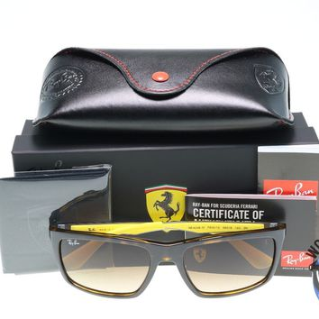 Ray Ban Ferrari Sunglasses RB4228M F609/13 Tortoise/Yellow w/ Brown Gradient
