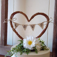 Wedding Cake Topper Rustic Heart with LOVE Banner - 5 in.