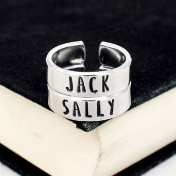 jack and sally the nightmare before christmas couples jewelry best friends ring set - Nightmare Before Christmas Wedding Rings