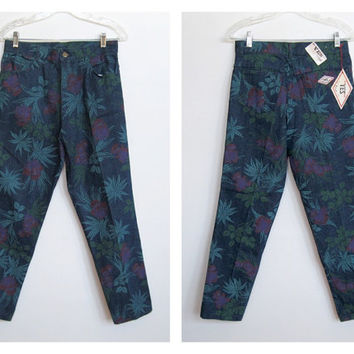 Vintage 1980 - 90s Yes Wear / High Waisted Floral Print Denim Jeans w/ Original Tags / Never Worn