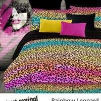 RAINBOW LEOPARD COMFORTER SET IN DIFFERENT SIZES
