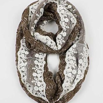 Infinity Yarn Scarf with Cream Lace