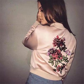 LMFCE6 Sports On Sale Hot Deal Women's Fashion Winter Embroidery Jacket Baseball [42066640911]