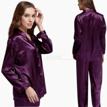 VONEGQ Gift  Womens Silk Satin Pajamas Set  Pajama Pyjamas Set  PJS  Sleepwear  Loungewear S,M,L,XL,2XL,3XL  Solid  Plus