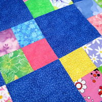 Doll Quilt Cherry Red & Cerulean Blue Flowers Lime Green Yellow Rainbow Summer - US Shipping Included