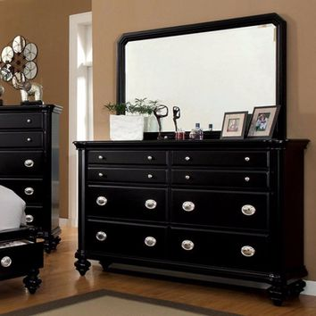 Peculiar Wooden Dresser In Contemporary Style With Eight Drawers, Black