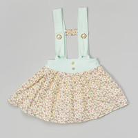 Banana Bread Baby Mint & Yellow Floral Lola Skirt - Toddler & Girls | zulily
