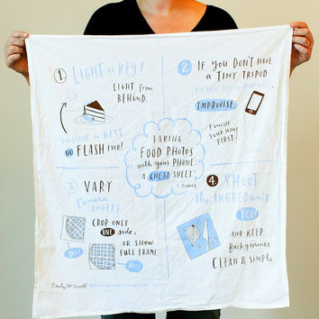 "Food Photography Tips Cotton Screen Printed 30""x30"" Tea Towel, Dish Towel, kitchen towel, instagram, foodie, food photos"