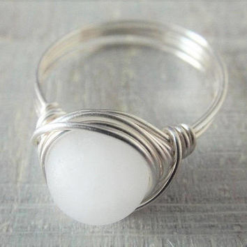 White Jade Ring, Jade Jewelry, Silver Wire Ring, White Stone Ring, Wire Wrapped Ring, Simple Ring, Birthday Gift for Her, Pretty Ring