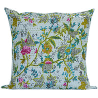 """16"""" White Birch Tree India Accent Kantha Throw Pillow Cover on RoyalFurnish.com"""