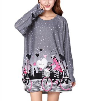 plus size women 2018 new spring fashion Hoodies & Sweatshirts casual pullover tiger print large loose loose size tunic  XL-5XL