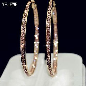 Popular Earrings With Rhinestone Circle Earrings Simple Earrings Big Circle Gold Color Hoop Earrings For Women