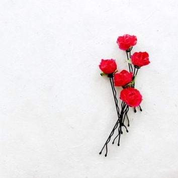 Red Rose Hair Pins. Rustic Wedding Hair Accessories. Red Handmade Paper Flower Bobby Pins. Romantic Gifts for Her. Paper Flower Hair Clips.