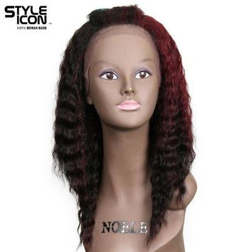 CREYG8W Styleicon Hair Trendy Fashion Wig Color TUF1B/99J Lace Front Human Hair Wigs U Part Lace 18 Inch Long Loose Deep Wig Free Ship