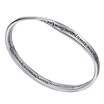 """FREE """"Love is patient,love is kind ... """" quote bracelet bangle"""