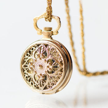 Filigree watch pendant Seagull, unique women's necklace watch gold plated, unused ornamented watch pendant, rare design fashion pendant