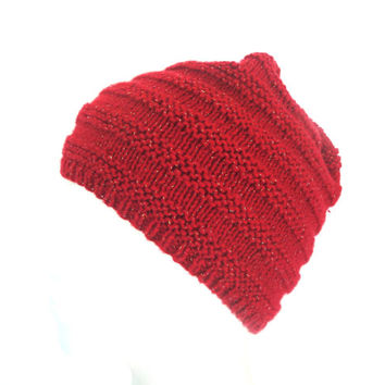 Valentines Red Beanie Hat with Glitter Sparkles 4 Women, Beehive, Hand Knit Cotton Blend, Cloche Skullcap, Teen Girls