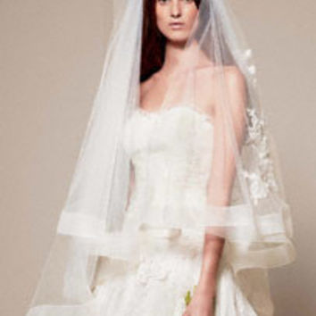 Two Tier Mid Length Veil with Horsehair and Lace