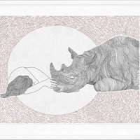 Friendship ,girl and rhino, line art, print of orginal drawing