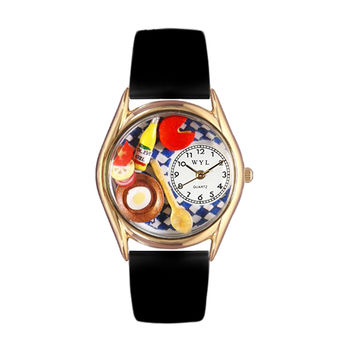 Whimsical Watches Healthcare Nurse Gift Accessories Gourmet Black Leather And Goldtone Watch