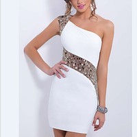 Fashion Off Shoulder Sequin Stitching Bodycon Dress