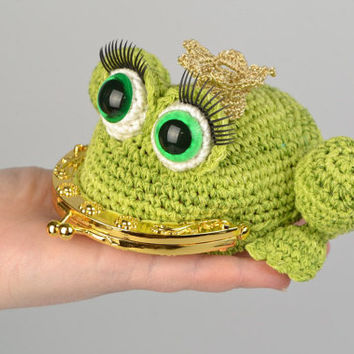 Handmade crocheted purse in the form of princess frog for chidren
