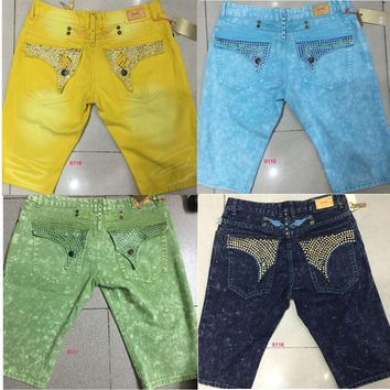 New Mens Robin Shorts Men's Designer Jeans Denim Short Pant with Crystal Studs Flap Pockets Cover Wings Clip Hip Hop size 32-42