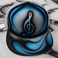 Airbrushed Blue Music Note Snapback Hat Hand Painted airbrush