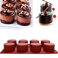 8 Holes Silicone Round Cake Mold Cupcake Jelly Pudding Ice Cube Mould Muffin Soap Molds Baking Cake Tools