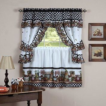 Fruit Cornucopia Mason Jar Kitchen Curtain Tiers and Swag Cottage Set (57 inch  x 24 inch )